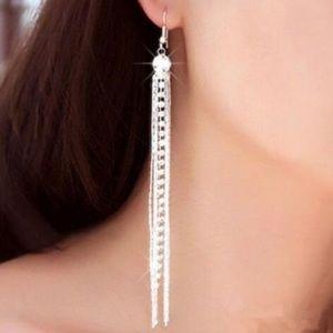 Rhinestone Linear Drop Earrings